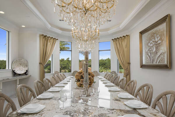 Dine under the three crystal chandeliers whilst enjoying the phenomenal views