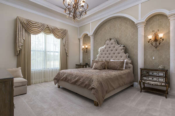 Travel to the Venice Suite in this ground floor master with a king bed