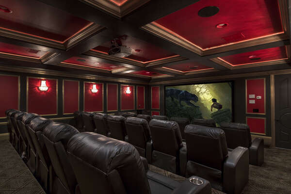 Experience this amazing theater room with 1080p projector and surround sound