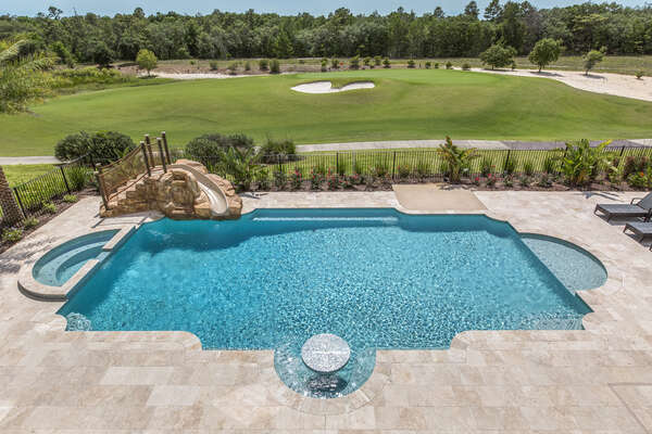 Your pool deck is impressively large and sets as a perfect location for poolside fun