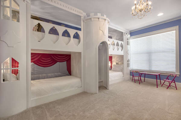 Every little princess will fall in love with this third floor Princess Suite with these custom castle twin over twin bunk beds