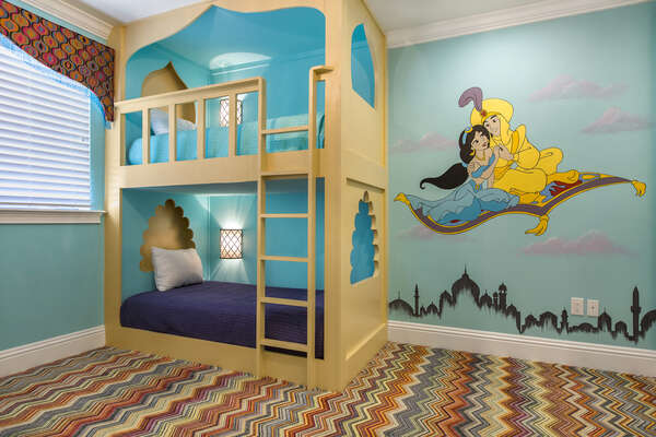 Travel to a whole new world in this amazing Aladdin Suite located on the second floor with two twin over twin bunk beds