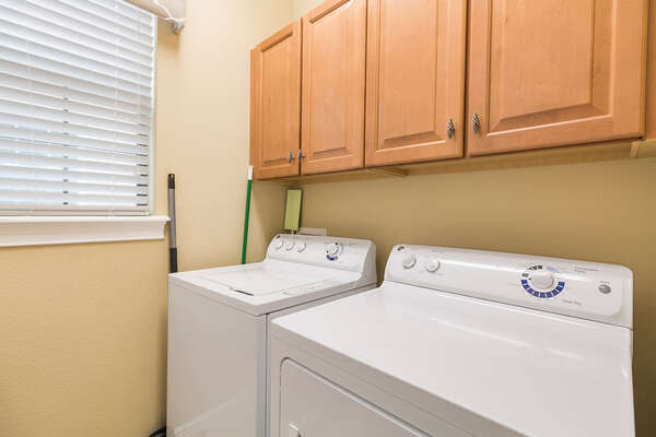 Your in unit washer and dryer is located on the first floor
