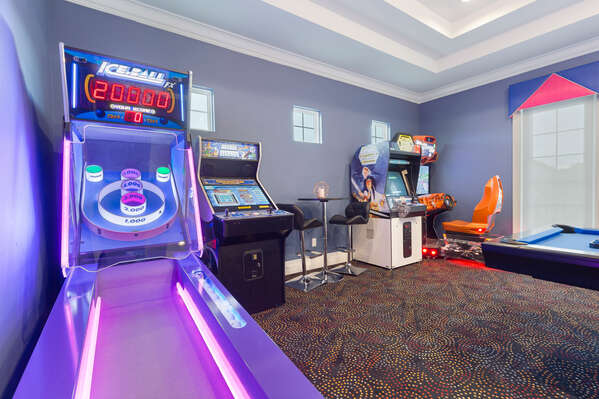 There are all king of arcade games such as the Ice Ball FX roller game, Fast & Furious SuperCars, Star Wars Trilogy, and Arcade Legends