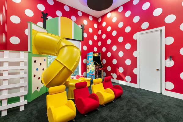 Located in between the kids rooms is an amazing secret hidden playroom