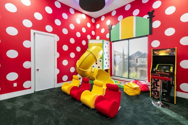 Play all day in the secret playroom!
