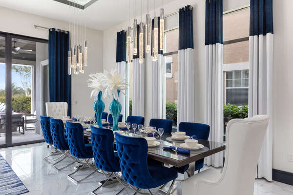 The formal dining room table seats 12