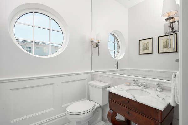 A half bathroom near the living area on the ground floor