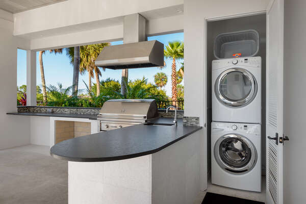There is a laundry room located on the lanai