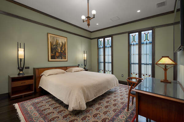 The master suite 9 features prairie-style decor