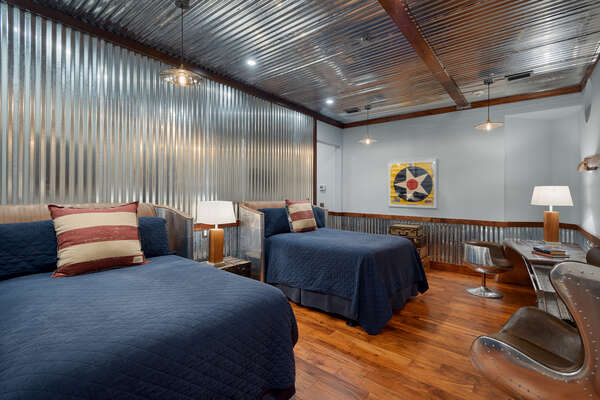 Master suite 10 has a Kitty Hawk theme inspired by the golden age of aviation
