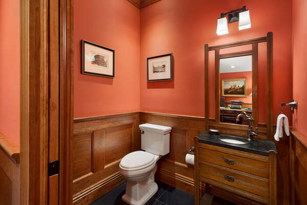 A half bathroom located off the games room