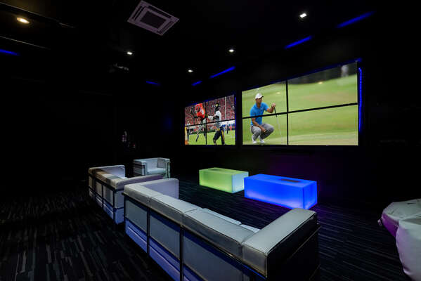 Watch a favorite show or movie on the 110-inch video wall