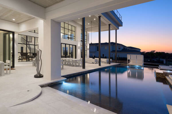 Indulge in the 55-foot private pool with all members of your party