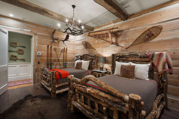 The kids will enjoy this room with a warmth of the great outdoors