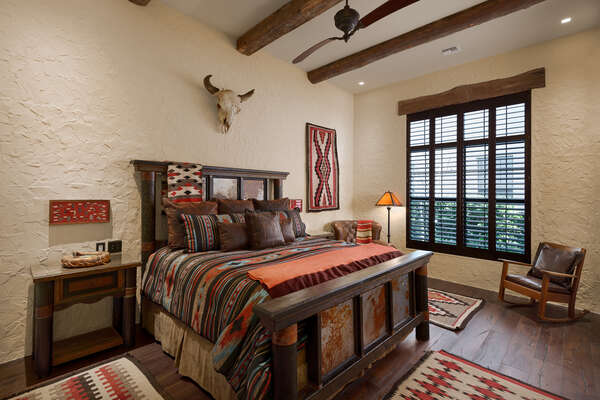The master suite 7 feature Pueblo Revival decor
