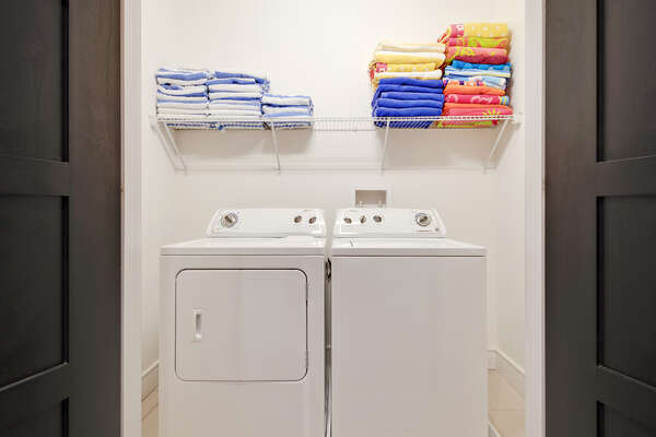 Your home comes fully equipped with a washer and dryer