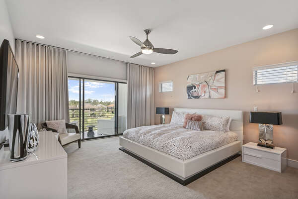 Master suite 4 located on the second floor has a King bed and balcony access