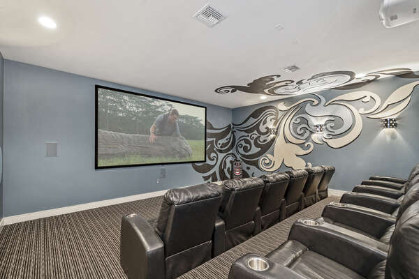 With a 150-inch projection screen, surround sound and a 4K Theatre Projector