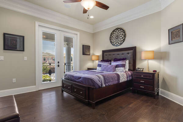 Second floor master bedroom with a private front balcony