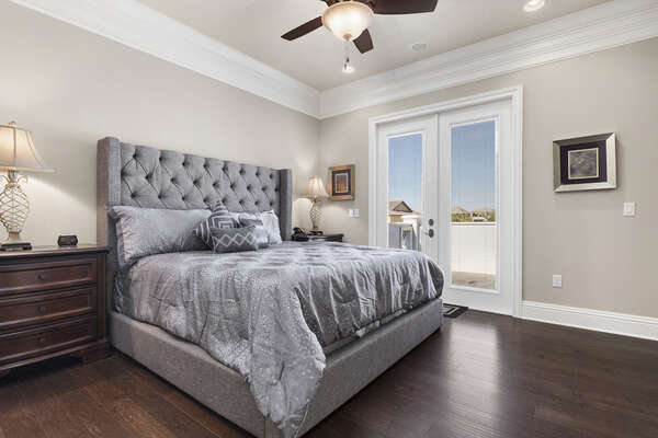 Second floor master king bedroom with balcony and ensuite bathroom