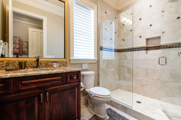 This bathroom is attached to the Harry Potter bedroom