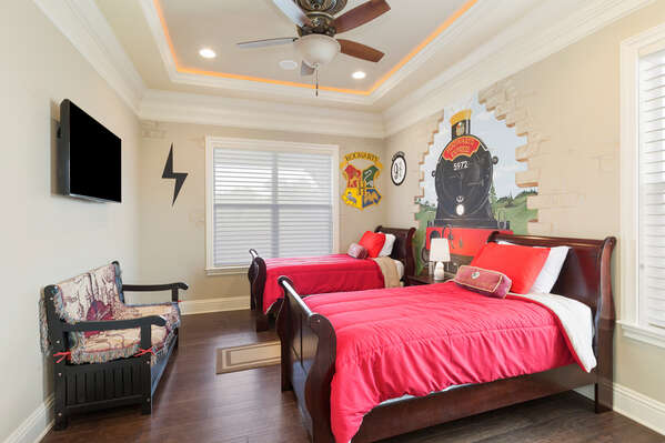 The kids will love the fun in this bedroom on the second floor