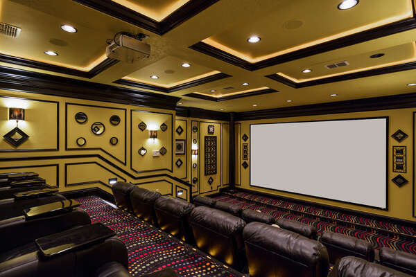 Private home theater with 200 inch projection screen