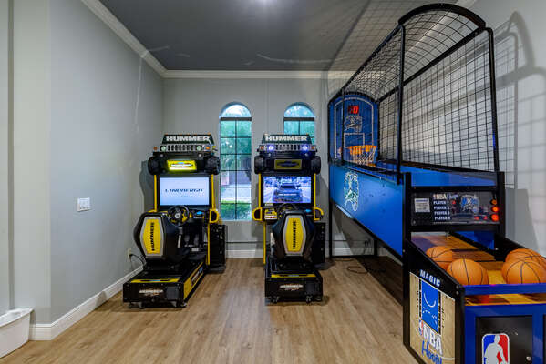 There`s plenty to choose from in this game room with PS4, XBox One, foosball, air hockey and Hummer arcade games