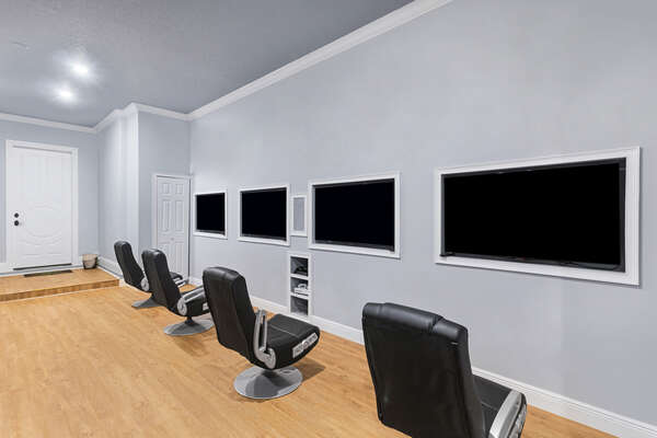 Check out the 4 50 inch TVs this game room has to offer