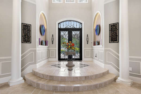The foyer is gorgeously appointed