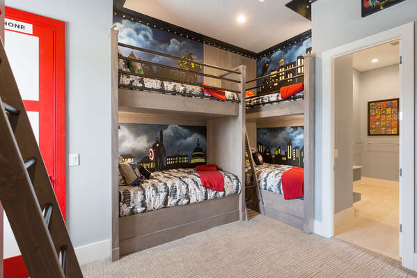 This bedroom features three custom built twin/twin bunk beds
