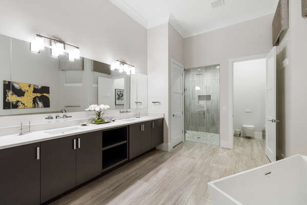 The en-suite bathroom features a walk-in shower and tub