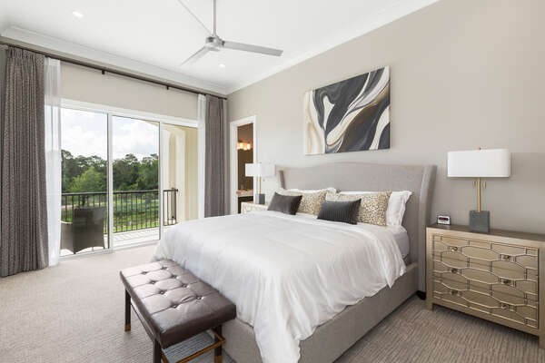 Master Suite 7 features a king bed, en-suite bathroom, and access to patio balcony