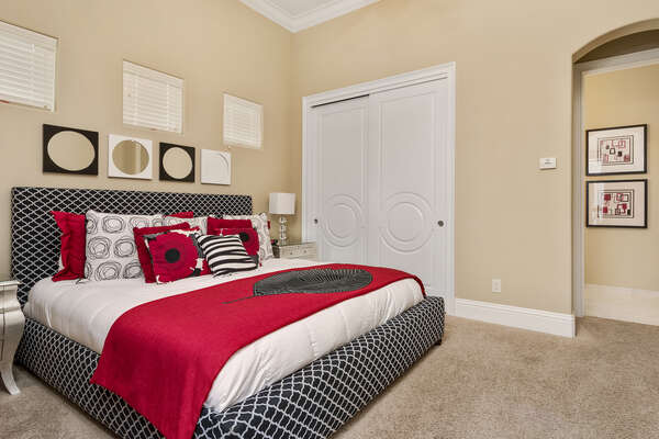The master suite 2 has a king bed and separate entrance for the courtyard