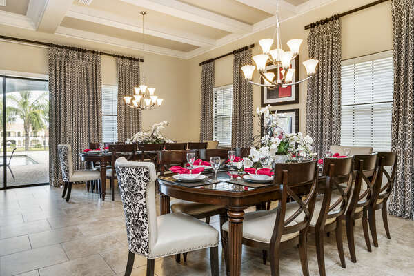 Enjoy a meal with friends and family in the dining table