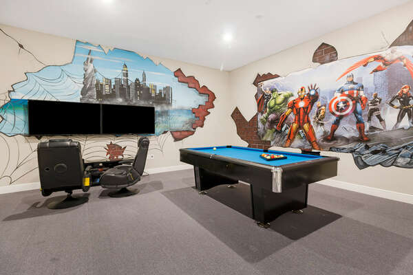 This games room is perfect for family nights in