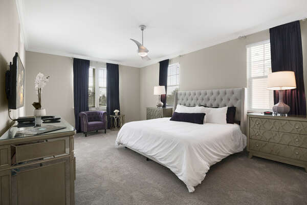 This master bedroom located in the second floor has a king size bed