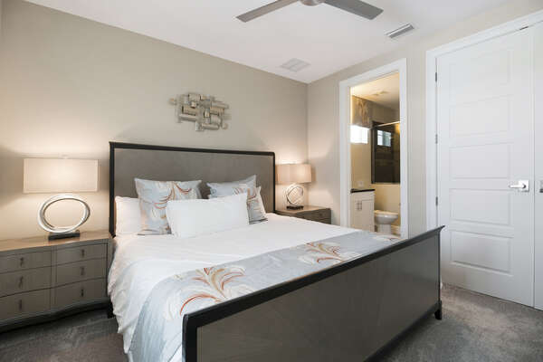 Master bedroom with king size bed and en-suite bathroom