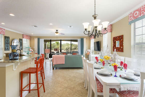 The bright colors and open floor plan is ideal for a home away from home