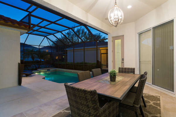 Have a meal outside by the pool at anytime