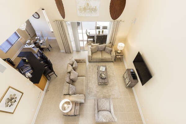 The second-floor view allows you to see the beautiful living area