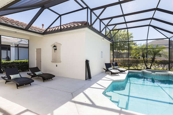 Enjoy a dip in your own private southwest facing pool and spillover spa.
