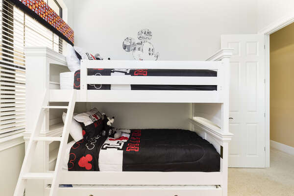 The kids will have their own bedroom with a twin over twin bunk bed