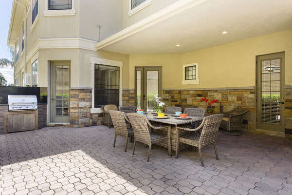 The home is equipped with a gas grill