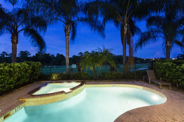 You can enjoy evenings by your pool overlooking the golf course