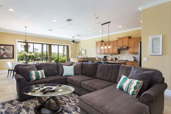 The living space is open concept