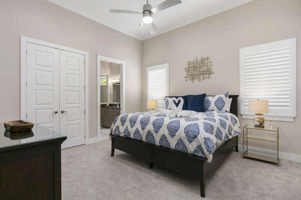 This luxury bedroom is located on the ground floor with a king bed and ensuite bathroom