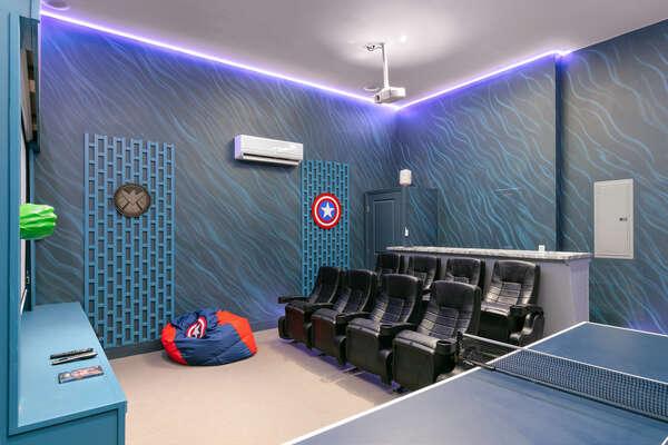 8 theater style seats