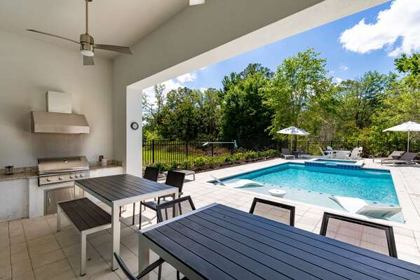 The lanai features a built in bbq with ample seating
